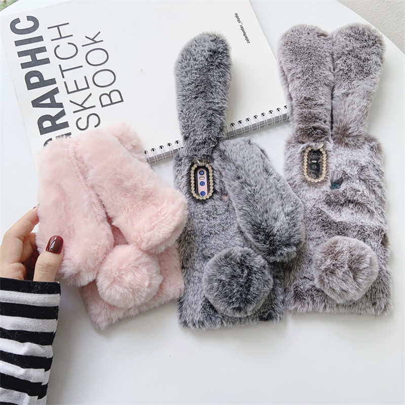 Luxury With Bling <font><b>Diamond</b></font> 3D Rabbit Phone <font><b>Case</b></font> For <font><b>Huawei</b></font> Honor 8X 8A 9X 10 10i 20 20i <font><b>P20</b></font> P30 Mate 20 30 Enjoy 9 10 Pro Coque image