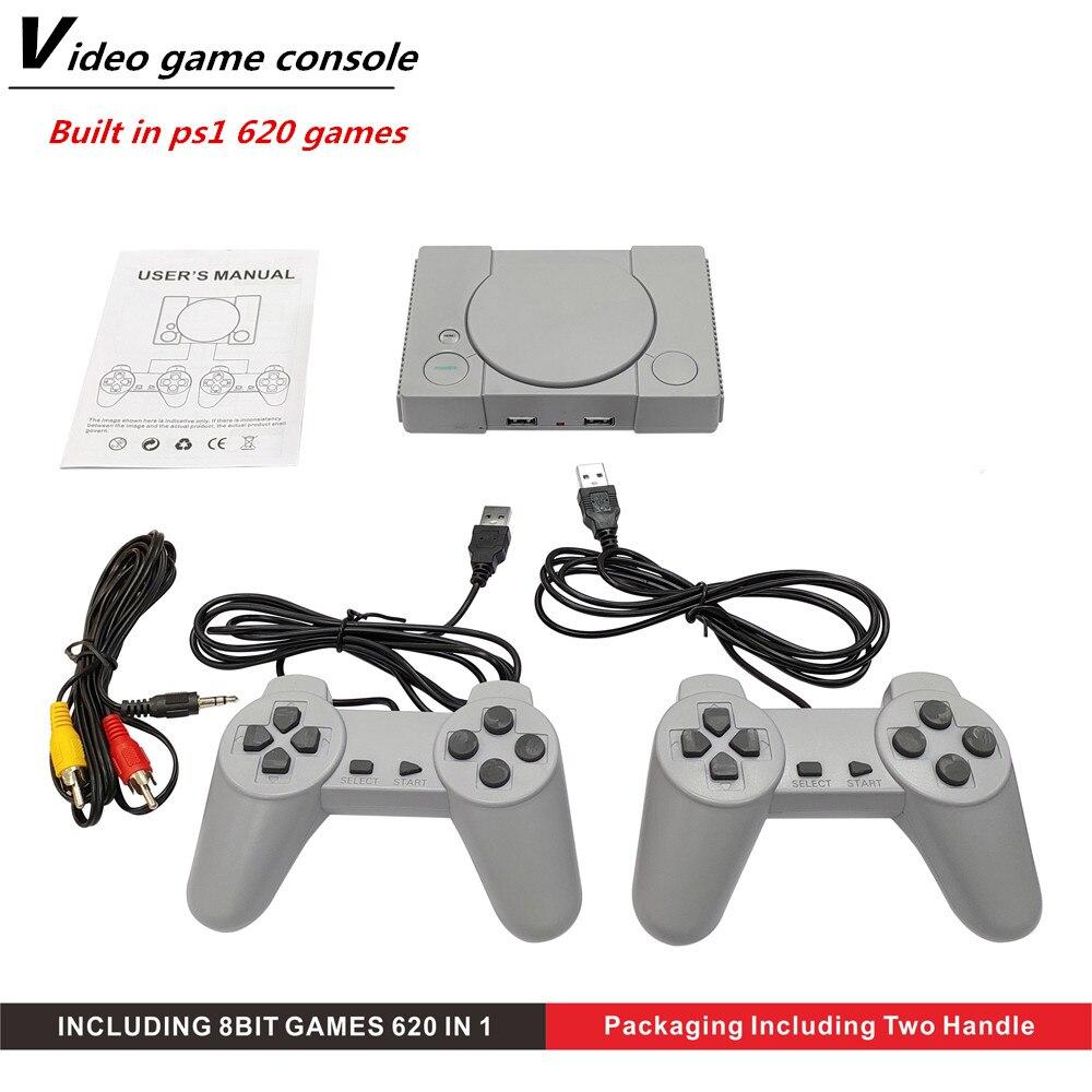 Игровая приставка для PS1, Игровая приставка с ручкой для ТВ, 620 классических игр, двойные геймпады, Классическая Ретро игровая консоль