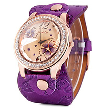 Womage Women Watches Fashion Big Dial Crystal Leather Band Quartz Watch reloj mujer horloge dames
