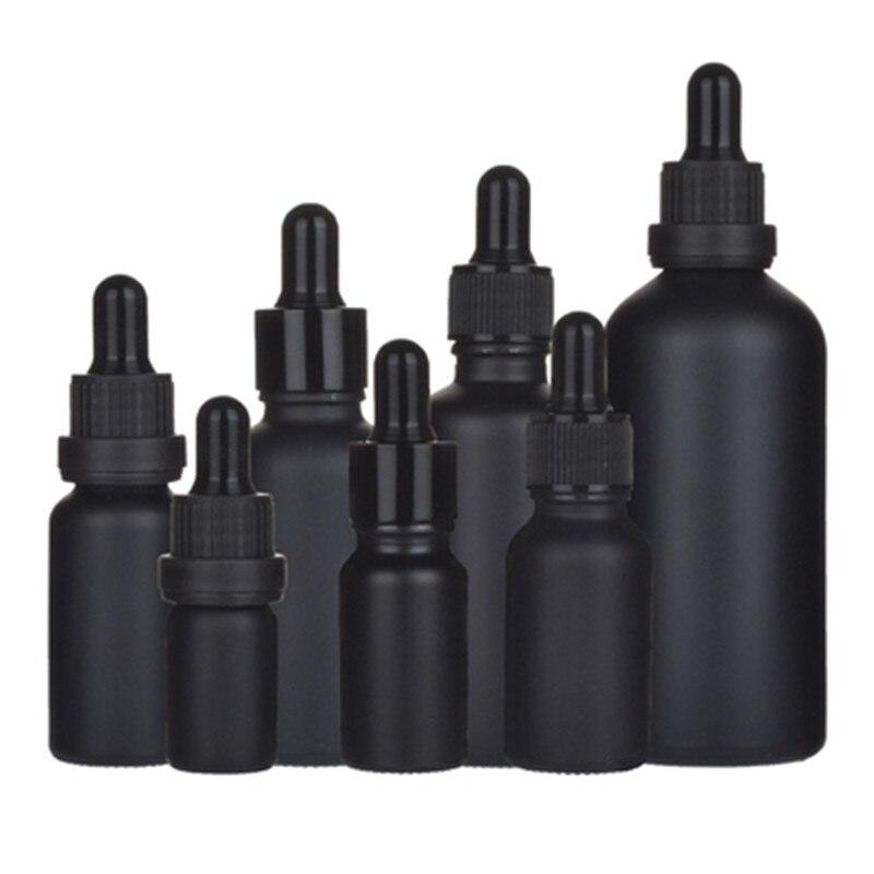 200PCS/LOT 5ML 10ML 15ML 20ML 30ML 50ML100ML Matter Black Glass Vials Empty Essential Oil Parfum E Liquid Pipette Dropper Bottle
