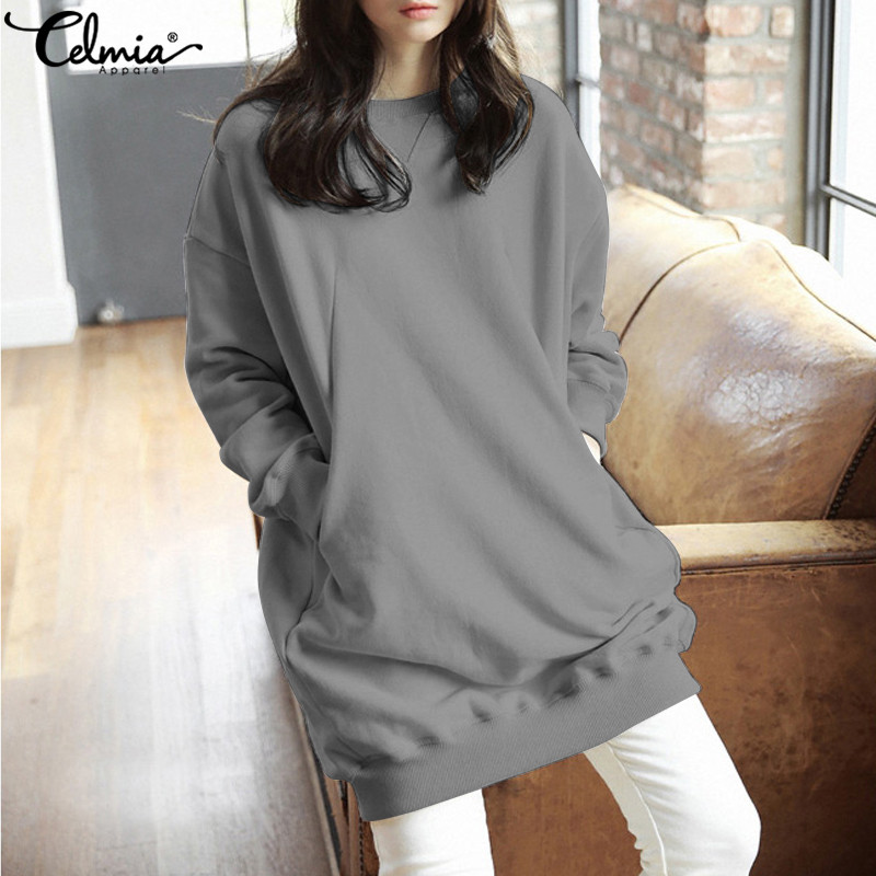 Celmia Women Casual Solid Sweatshirts Plus Size Tops 2019 Autumn Winter Hoodies Pullovers Long  Sleeve Loose Blusas Mujer
