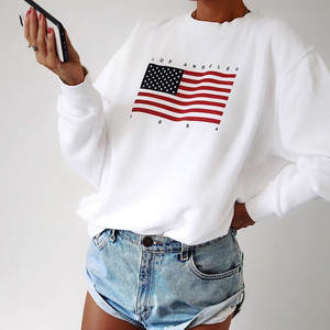 Patchwork Sweatshirt Pullover Oversized Long-Sleeve Vintage High-Quality Blouse Tops