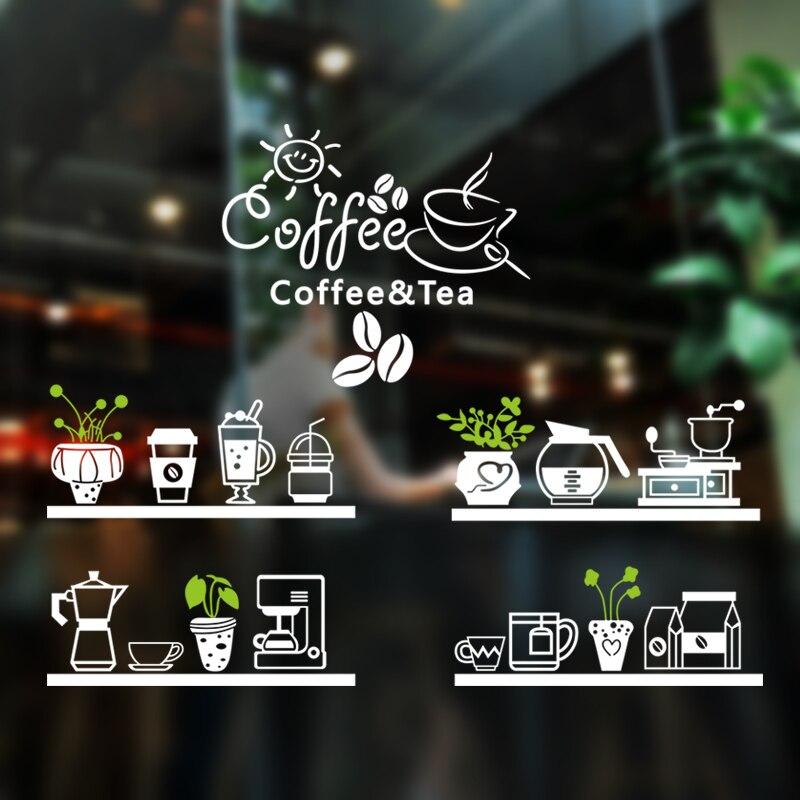 커피 숍 스티커 콩 우유 차 데칼 카페 컵 포스터 비닐 아트 벽 장식 벽화 장식 브레이크 빵 커피 유리 데칼