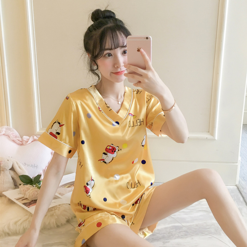 Dream Friends Yellow My Little Pajamas Women's Xia Bing Silk Short Sleeve Korean-style Spring And Autumn Thin Sweet-Outer Wear-S