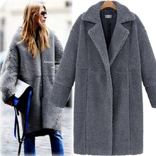 Women Autumn Winter Loose Simple Coat Solid Color Lapel Casual Long Sleeve Warm Cashmere