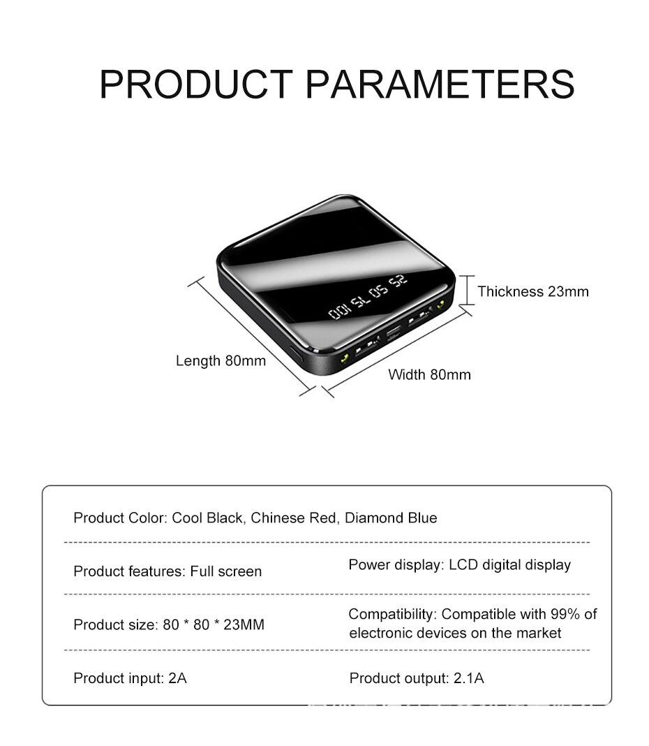 PINZHENG Mini Portable 10000mAh Power Bank For Xiaomi Mi With LED Digital Display 15