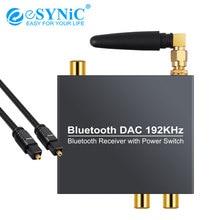 ESYNiC cyfrowy na analogowy konwerter Audio Bluetooth optyczny koncentryczny na analogowy 3.5mm Audio z włączaniem/wyłączaniem 192kHz Bluetooth DAC