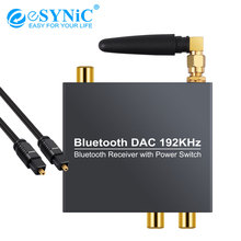 eSYNiC Digital to Analog Audio Converter Bluetooth Optical Coaxial to Analog 3.5mm Audio with Power ON/OFF 192kHz Bluetooth DAC