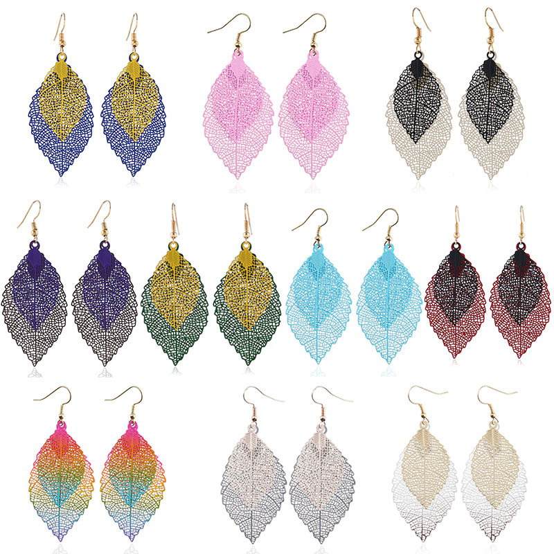 Women Sweet Simple Size Multi layer Coloured Leaf Long Style Temperament Drop Double Leaf Tassel Earrings in Drop Earrings from Jewelry Accessories