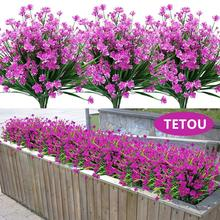Artificial-Flowers Decoration Office-Table Faux-Plastic-Plants Window Fake Garden No-Fade