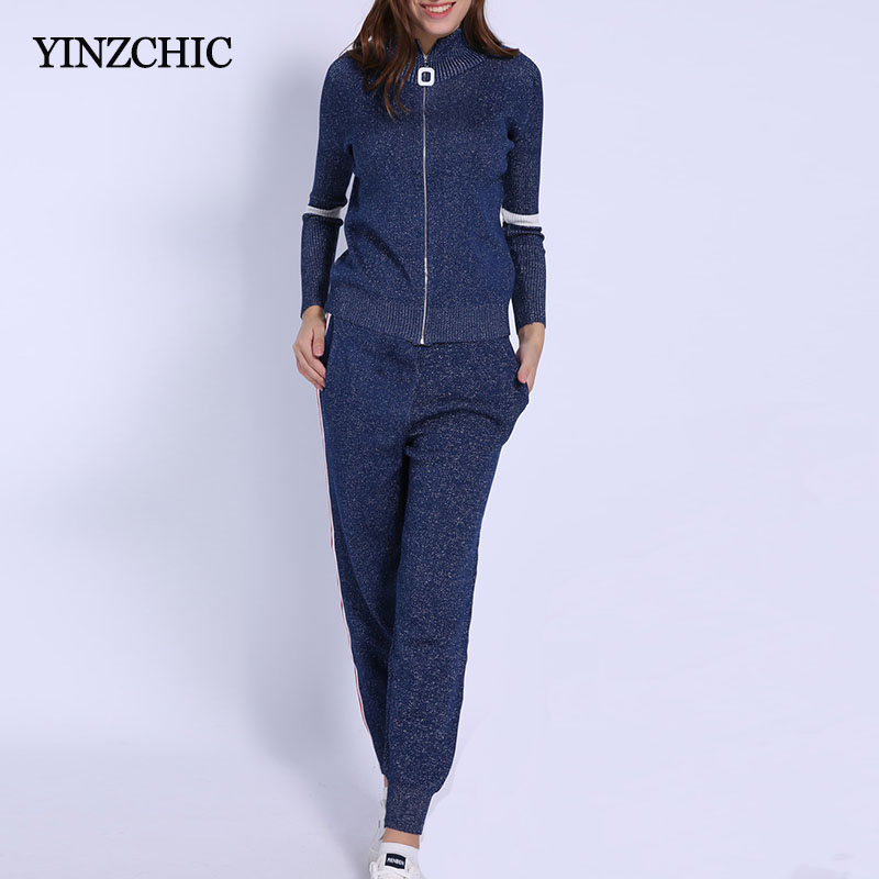 Fashion Woman Knitted Two-pieces Set Stand Collar Knit Jacket Loose Pants Suits For Woman Female Sports Style Sets Winter Warm