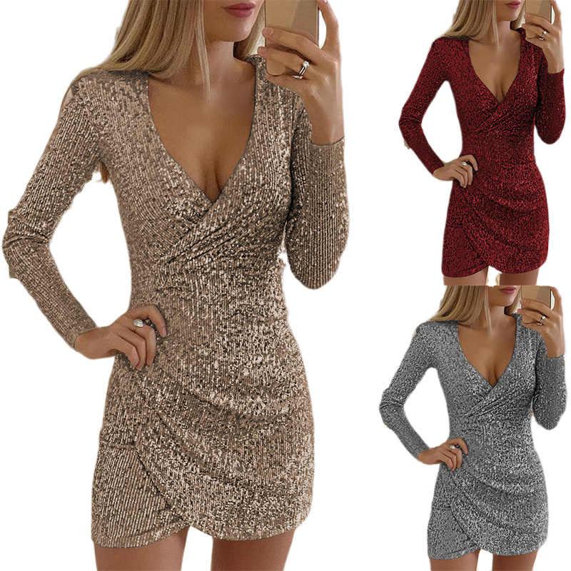 Frauen Sexy Pailletten Bodycon Mini Kleid Frauen V-ausschnitt Selbst Anbau Kleider Schlanke Elegante Damen Abend Party Kleid