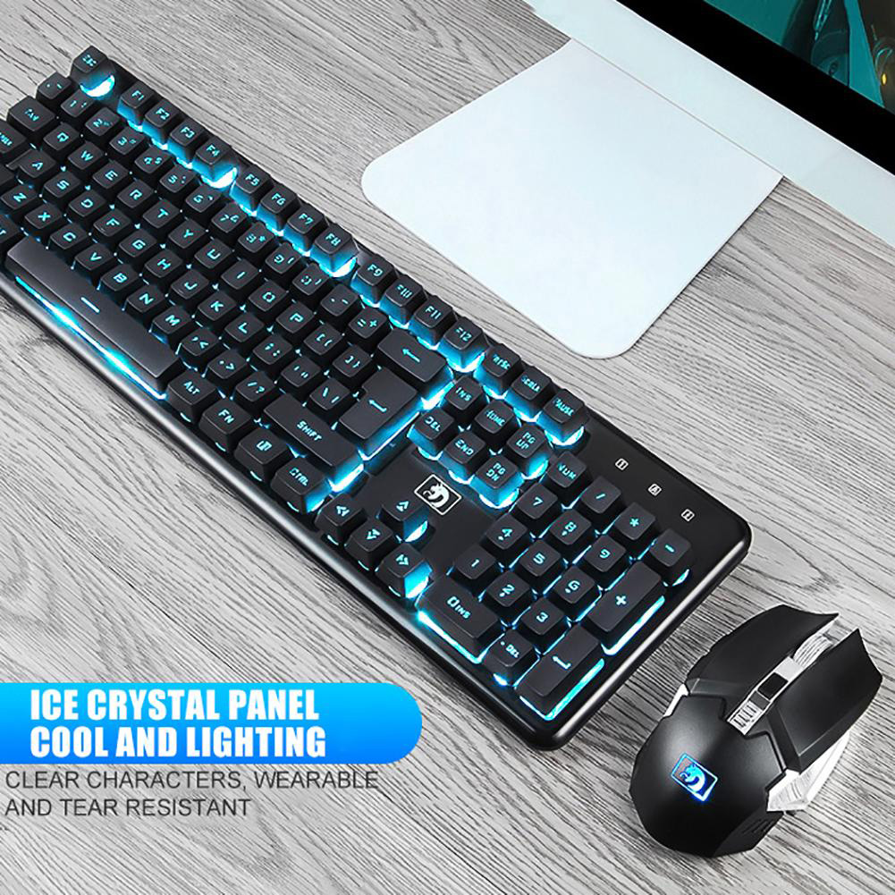 2400DPI Wireless Rechargeable Gaming Mechanical Keyboard 104 Keys Backlit Waterproof Mouse Combo for Xinmen K620, Ergonomic image