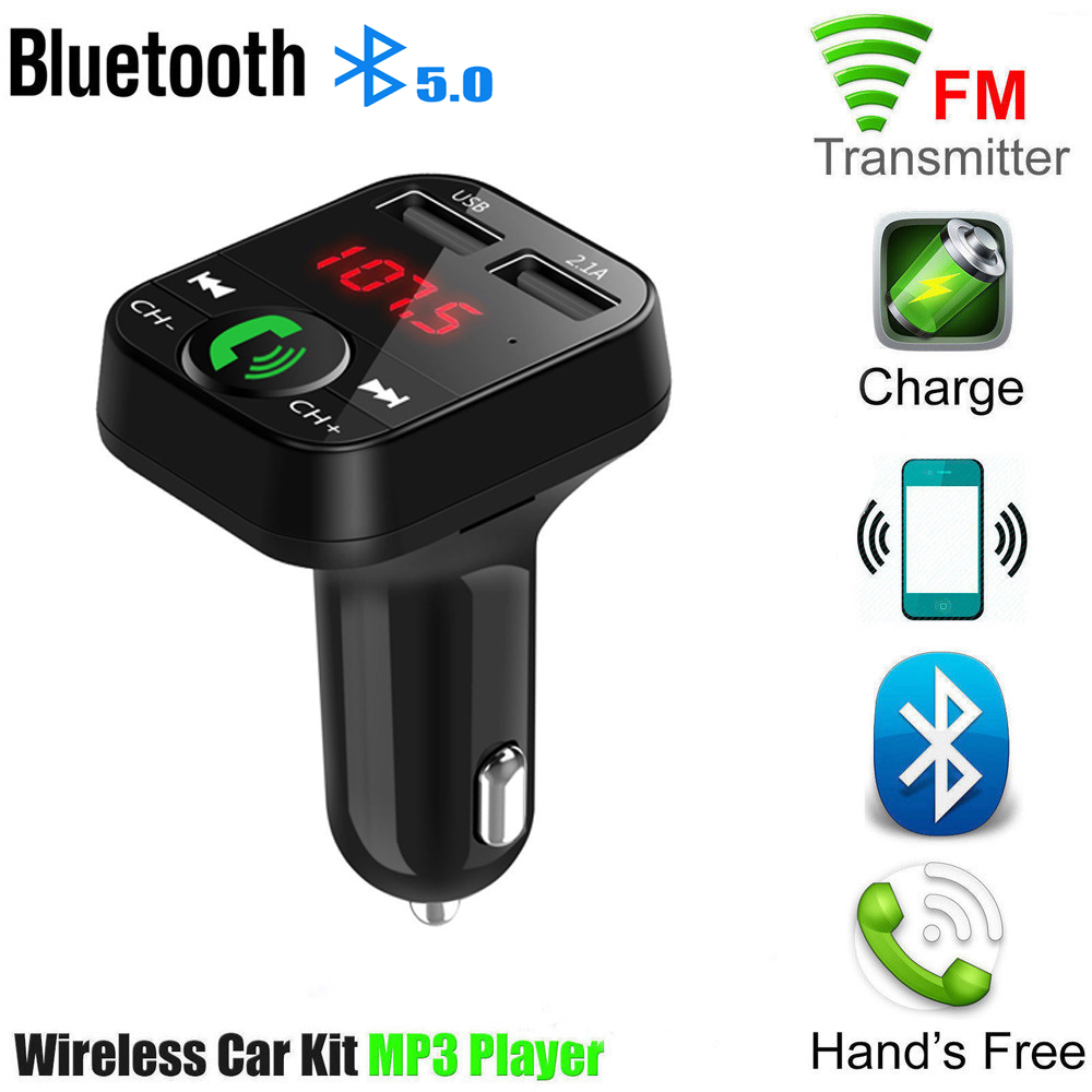 Bluetooth 5.0 FM Transmitter Mobil MP3 Player Dual USB 2.1A Cepat Charger Mobil Musik Player FM Modulator Audio Frekuensi Radio