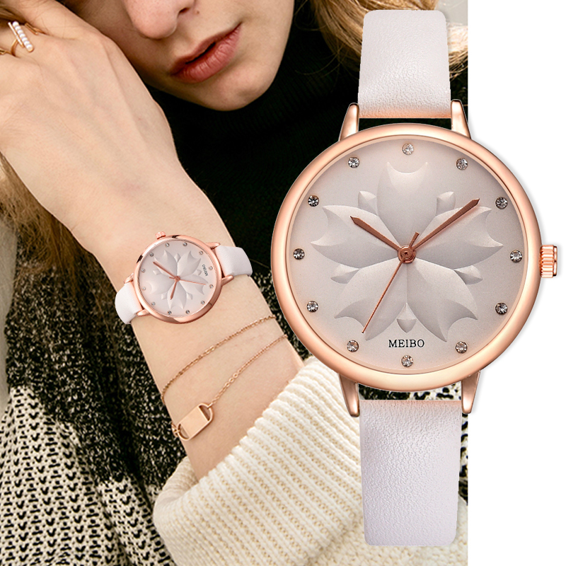Fashion Women Romantic Embossed Flowers Dial Watch Casual Luxury Brand Leather Rhinestone Business Watch Relogio Feminino