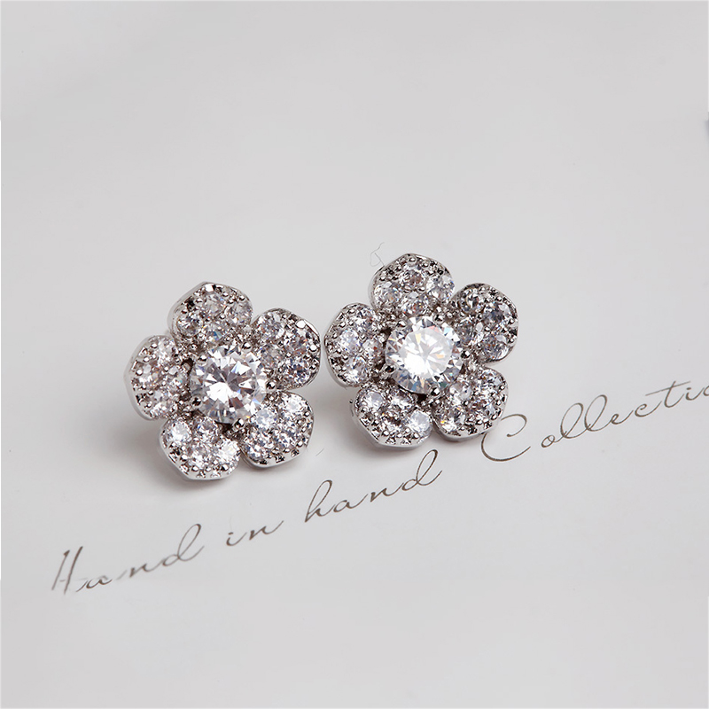 Simple Silver Color Flower Stud Earrings With Full Pave Cubic Zirconia Crystal Earrings Statement Jewelry