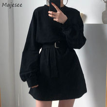 Long Sleeve Dress Women Large Size 4XL Black Harajuku BF Korean Style Sashes Wom