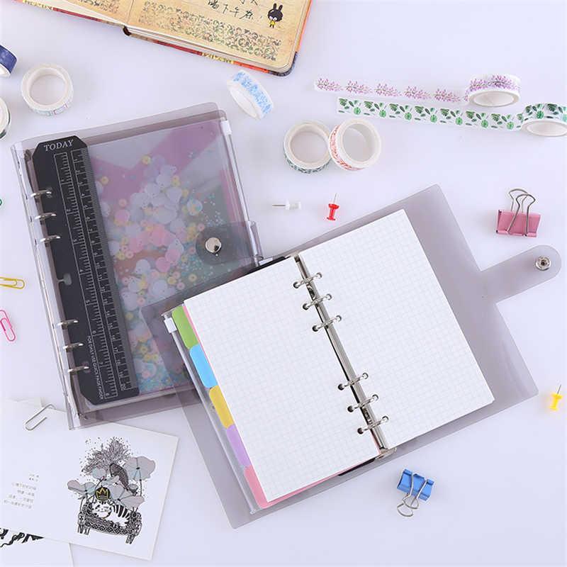 Kawaii PVCหลวมLeaf Notebook A5/A6สายรุ้งDIYโปร่งใสขดลวดเกลียวหนังสือน่ารักagenda 2021วารสาร