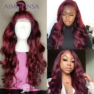 Burgundy Lace Front Wig 13x6 Red Human Hair Wigs For Black Women 150% Density Colored Ombre Lace Front Wigs Pre Plucked Remy(China)