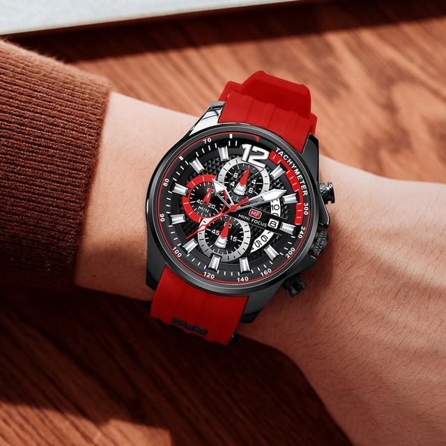 MINI FOCUS Fashion Men's Watches Top Brand Luxury Quartz Waterproof Sports Clock Wristwatch Relogio Masculino Red Silicone Strap 5