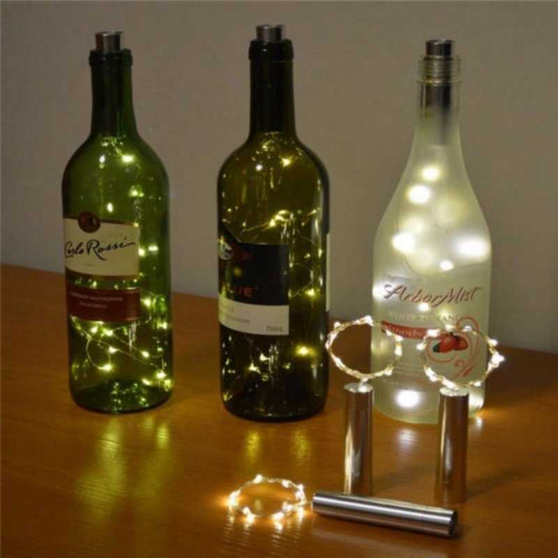 1M Wire String Silver Wire String 10 LEDs Waterproof Color LED Wine Bottle Cap Cork Copper Holiday Festival Party Lights String
