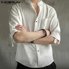 INCERUN Men Solid Color Shirt Vintage Stand Collar Cotton Br