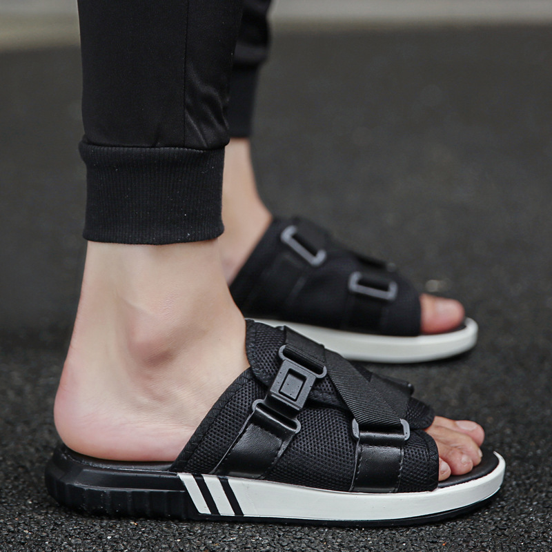 Le mu 2019 Summer New Style Breathable Versatile Sandals Anti slip Flat Casual Sandals Home Slippers Men's|  - title=