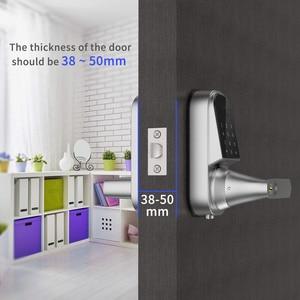 Image 2 - Bloqueio inteligente fechadura da porta de entrada keyless eletrônico fechadura da porta da frente app controle bluetooth teclas mecânicas casa bloqueio da tela toque