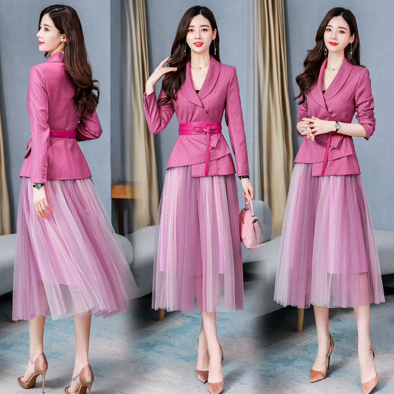 office lady Net skirt suits women stripe suit lady uniform Formall skirt and suits jacket 2 piece set women blazer skirt set