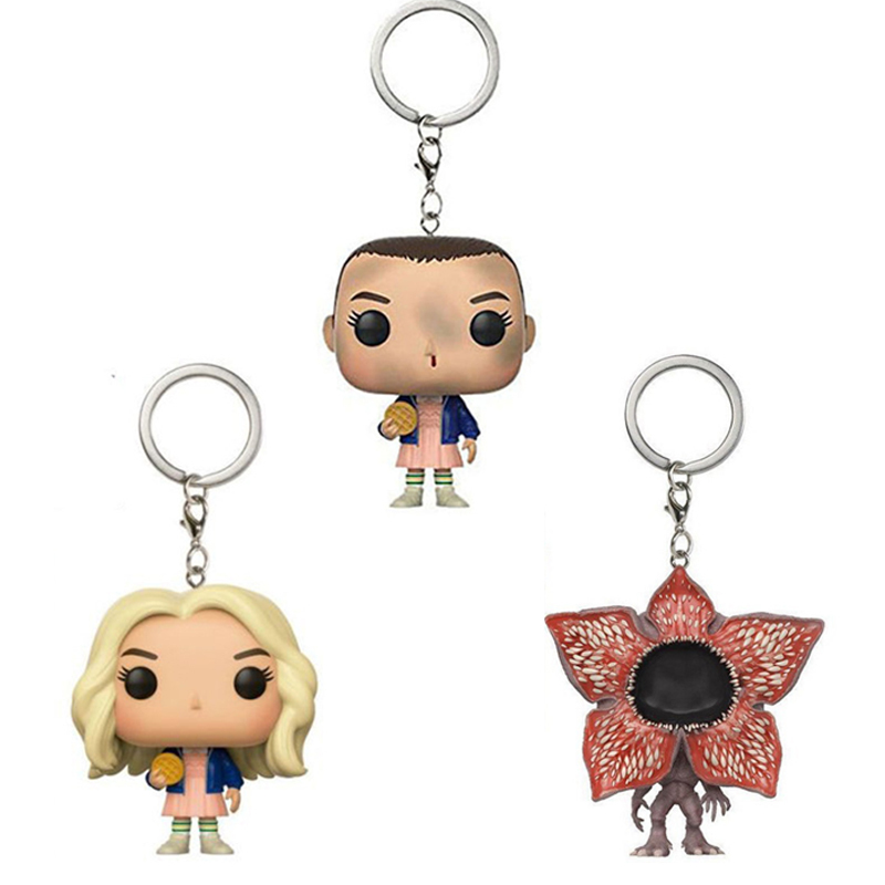 Stranger Things Key Buckle Keychain Action Figure Key Eleven With Eggos Collectible Model Vinyl Dolls Keyring Children Gift