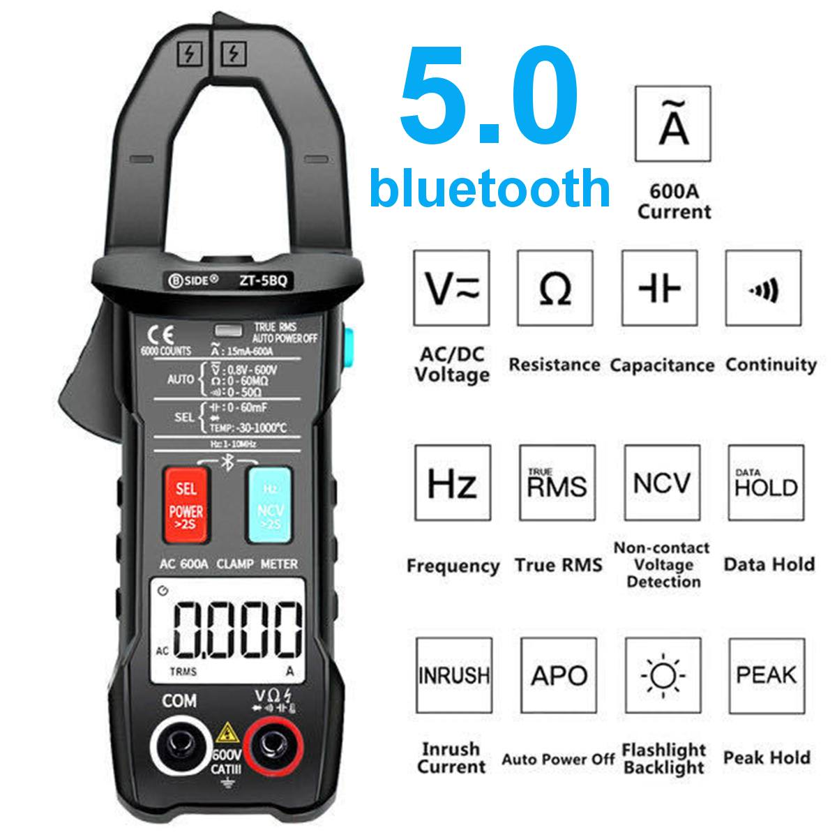 Tools : Digital Clamp meter ZT-5BQ Wireless Technology Smart multimeter True RMS Voltmeter Ammeter Auto Rang Capacitor NCV Tester