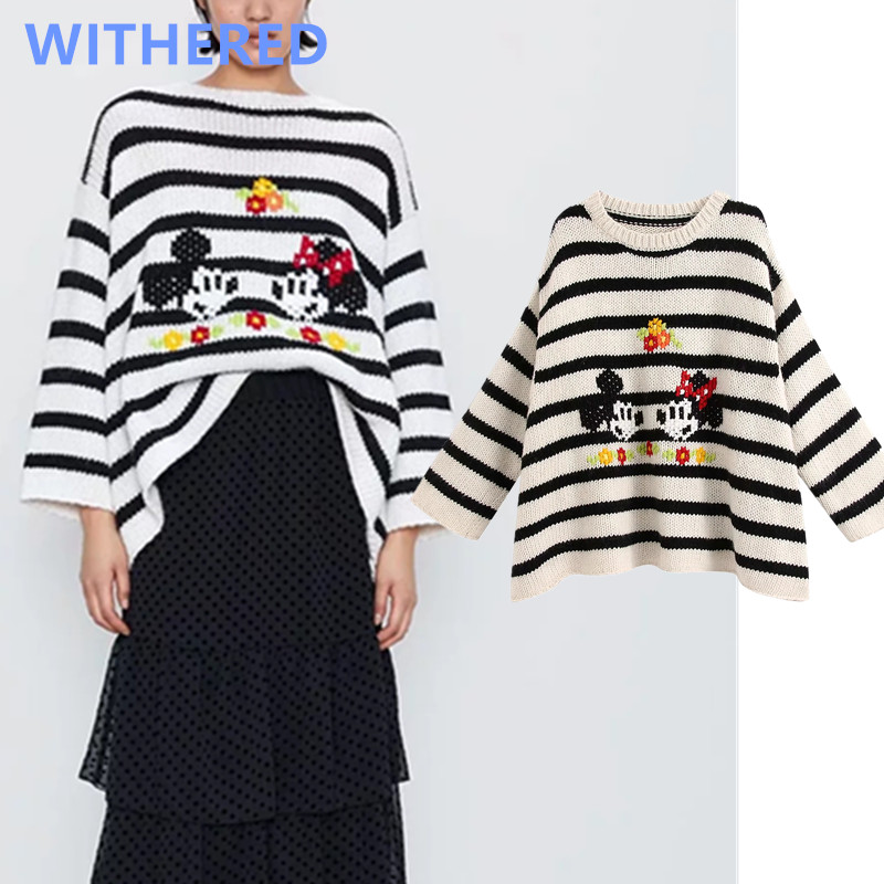 Withered England High Street Vintage Cartoon Mouse Jacquard Oversize Sweaters Women Pull Femme Sweaters Women Pullovers Tops