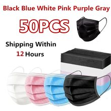 50 pçs preto descartável máscaras de rosto nonwove 3 camada camada filtro máscara de segurança anti-poeira filtro máscaras protetoras respiráveis em estoque!