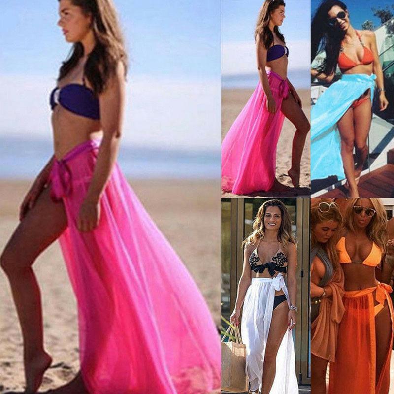Womens Swim Wear Bikini Cover Up Sheer Beach Mini Wrap Skirt Sarong Pareo Skirts Summer
