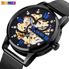 ساعة يد آلية من SKMEI ساعات يد إبداعية ميكانيكية للرجال مُفرّغة على شكل فن مفرغ بشريط فولاذي بدون إجهاد طراز montre homme 9199