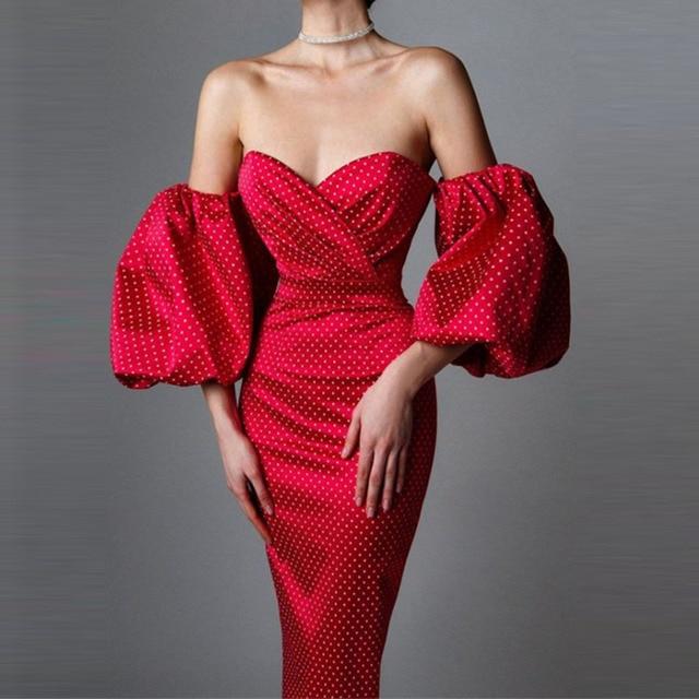 Elegant Lantern Sleeve Club Party Dress Retro Polka Dot Print Women Long Dress Sexy Off Shoulder Strapless Bodycon Dress Vestido 3