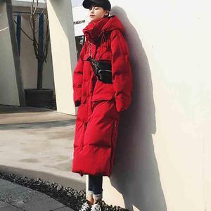 Image 2 - JuneLove женская теплая пуховая куртка из хлопка, винтажная женская зимняя модная Толстая парка с капюшоном и карманами, теплая куртка оверсайз, верхняя одежда