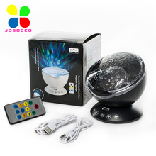 JUSOCCO Ocean Wave Projector Drop Shipping Night Light Music Player Speaker LED Remote Control TF Cards