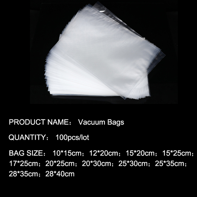Tintonlife 100 pz/lotto Sacchetti di Vuoto per il Cibo Vacuum Sealer Macchina Imballatrice Sacchetto di Conservazione Degli Alimenti Con Il Cibo Materiale di Qualità