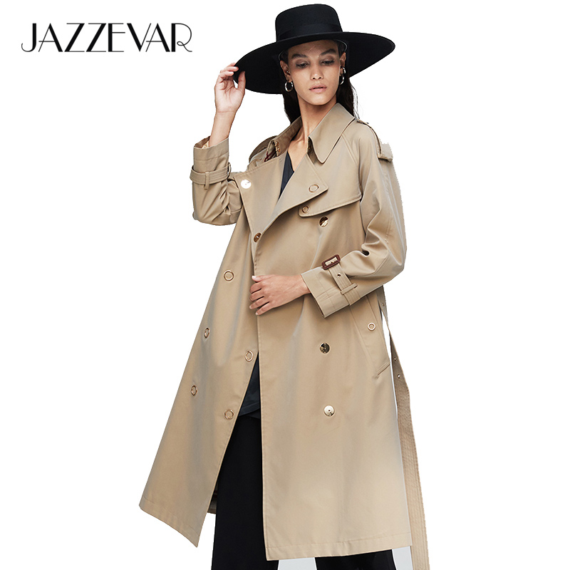 JAZZEVAR 2019 New arrival autumn   trench   coat women loose clothing outerwear high quality double breasted women long coat 9024-1