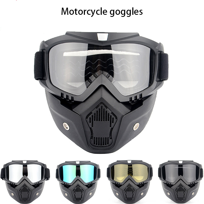 motorcycle Goggles with removable glasses and filters are perfect for convertible motorcycle half helmets or vintage helmets