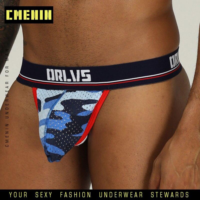 ORLVS 2019 Men Jockstrap Male Sexy Gay Underwear Mens Jockstrap Breathable Mesh G-Strings Man Thong Masculina U Pouch OR190