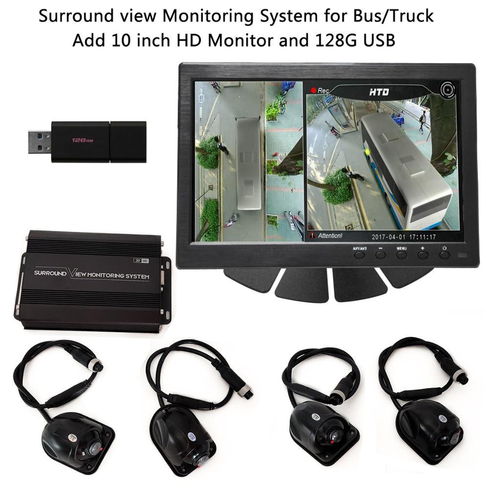 SZDALOS HD 3D 360 SVM система просмотра птиц для автобуса/грузовика/RV 4-CH MDVR FHD 1080P DVR добавить 10 дюймовый hd-монитор и 128G USB хранения
