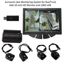 SZDALOS HD 3D 360 SVM Bird View System for Bus / Truck / RV 4-CH MDVR FHD 1080P DVR Add 10 inch HD Monitor and 128G USB storage(China)