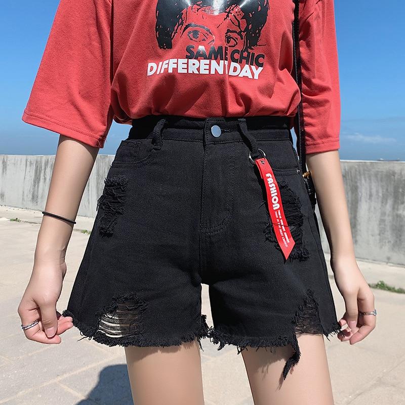 Ripped Jeans For Women Summer  High Waist  Plus Size Loose  Torn Mom  Denim  Female Shorts 4xl 5xl