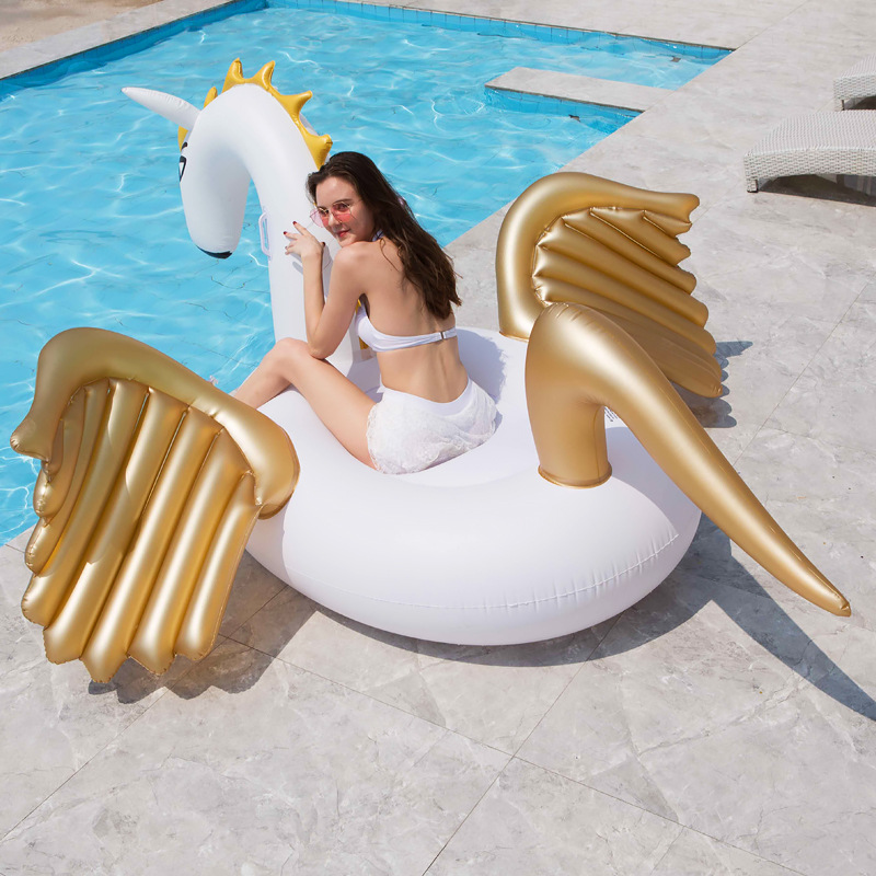 Roxin 250cm Giant Unicorn Pool Float Inflatable Mattress Swimming Ring Floating Bed Ride-On Raft Swimming Circle Pool Party Toys