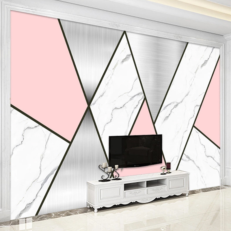 Custom Modern Nordic Large Mural 3D Geometric Marble TV Background Art Wall Painting Living Room Sofa Decoration Photo Wallpaper