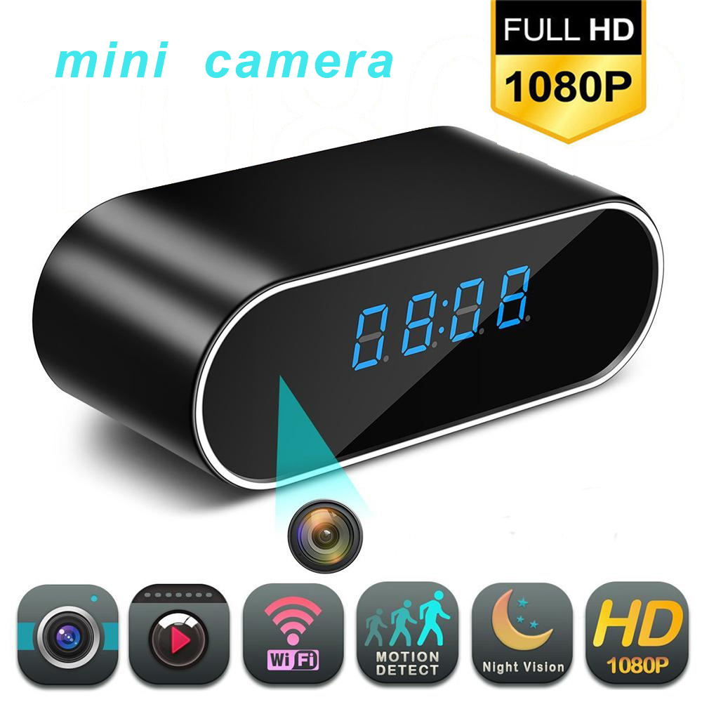 1080P HD Clock Camera Wireless WIFI Micro Cam IR Night View Alarm Camcorder Digital Clock Video Camera Mini DVR Hidden TF Card(China)
