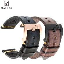 MAIKES Correa de reloj de cuero de vaca hecho a mano, correa de reloj negra Vintage, pulsera de reloj de 20mm, 22mm y 24mm