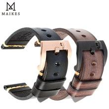 MAIKES اليدوية حقيقية جلد البقر حزام (استيك) ساعة خمر الأسود مربط الساعة سوار ساعة 20 مللي متر 22 مللي متر 24 مللي متر حزام ساعة اليد